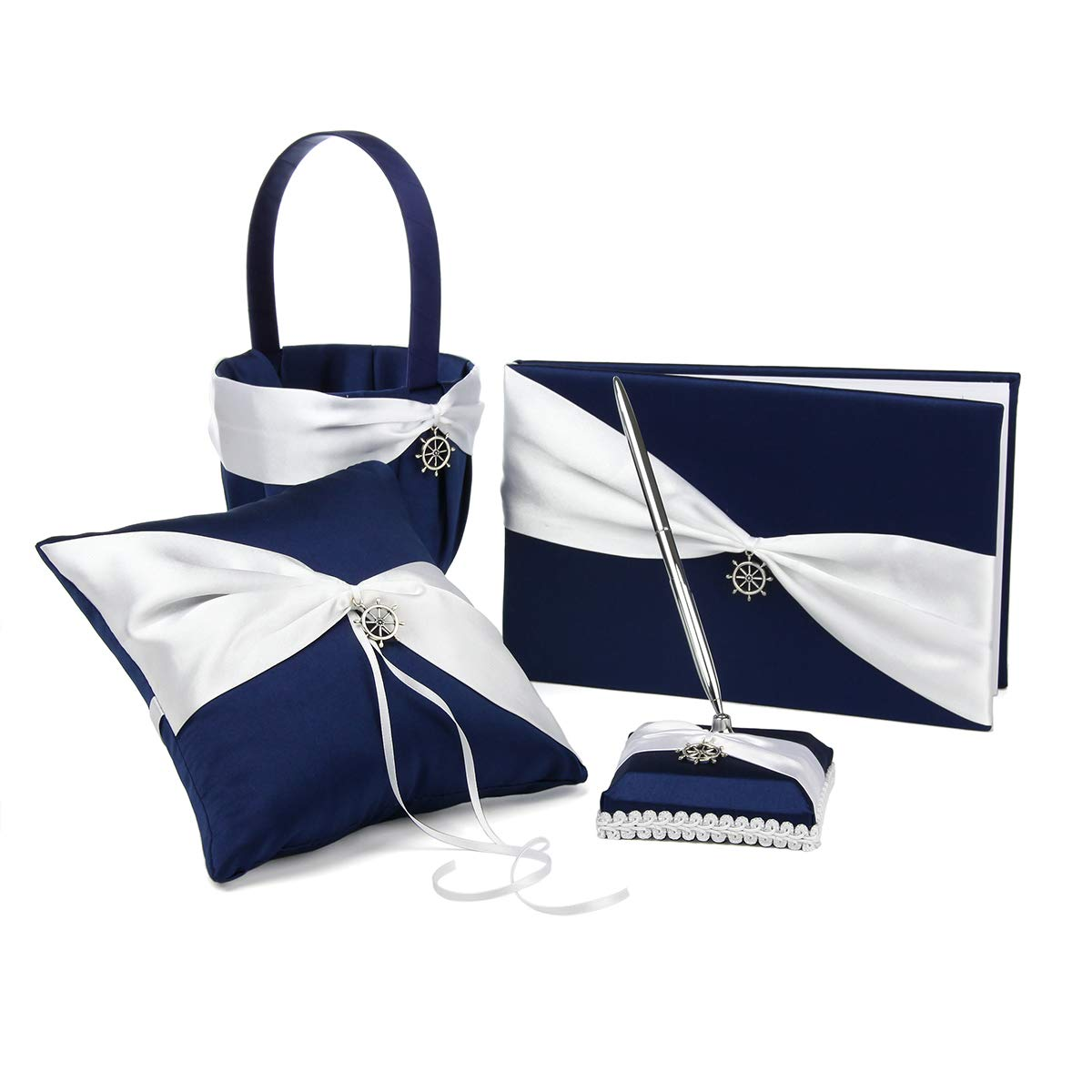 KateMelon 4-Piece Nautical Anchor Charm Wedding Guest Book Set with Pen Ring Pillow and Flower Girl Basket, Navy Blue