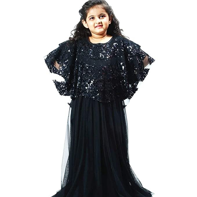49802e58a36 PinkBlue India Kids Party Wear Gown Baby Girl Long Wedding Dress Black   Amazon.in  Clothing   Accessories