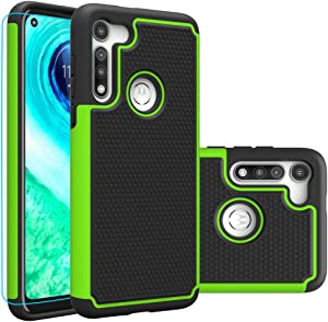 Moto G Fast Case, Motorola G Fast Case with HD Screen Protector,Giner Dual Layer Heavy-Duty Military-Grade Armor Defender Protective Phone Case Cover for Motorola Moto G Fast (Green Armor)