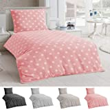Dreamhome24 Bettwäsche Microfaser Bettbezug 135x200 Sterne Kissenbezug Grau Taupe Silber, Farbe:Rosa