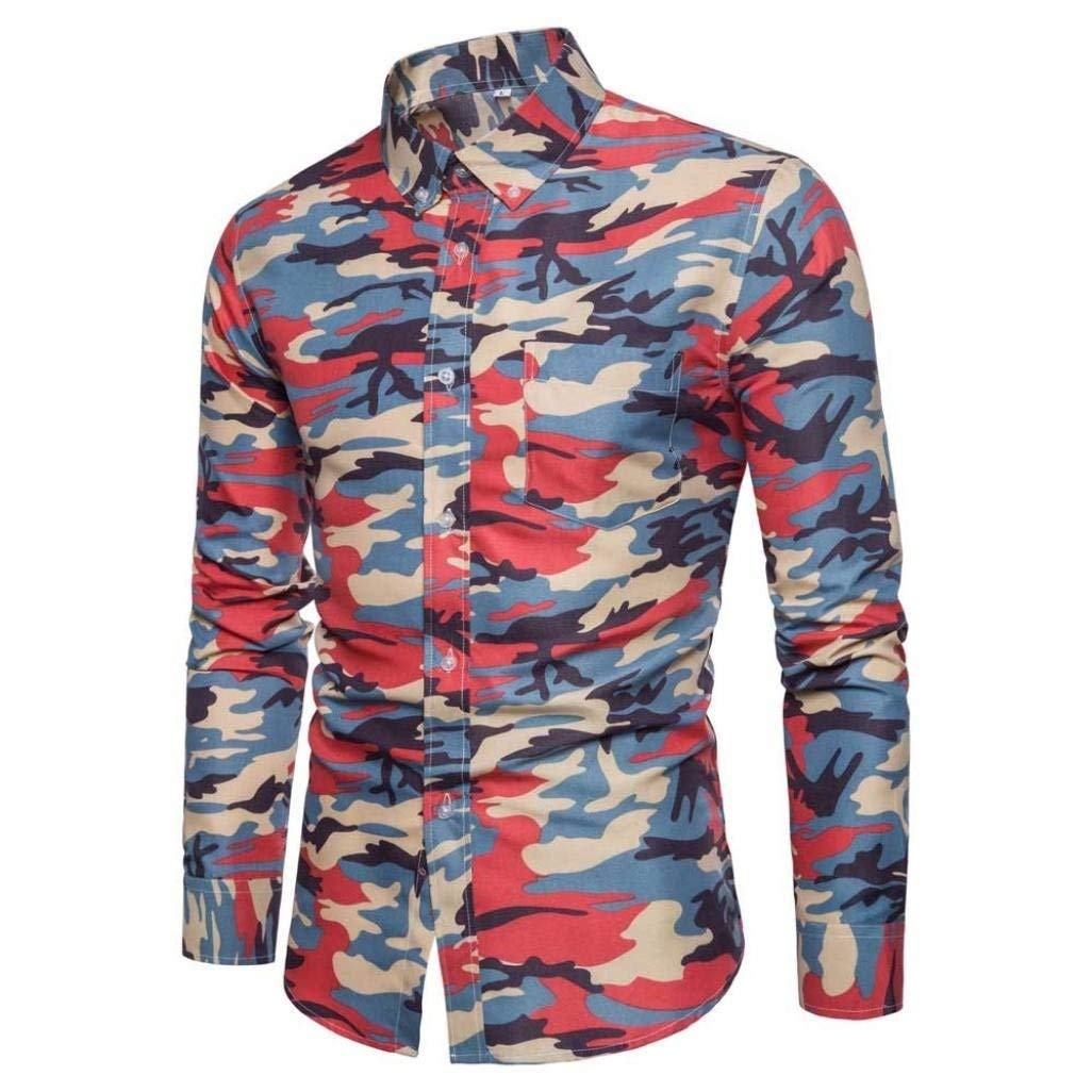 Color : Rot, Size : Medium Men Casual Mens Casual Long Sleeve Shirt Business Slim Fit Shirt Printing Blouse Top Fashion Tight Button Dress Shirts Wild Tight for Men