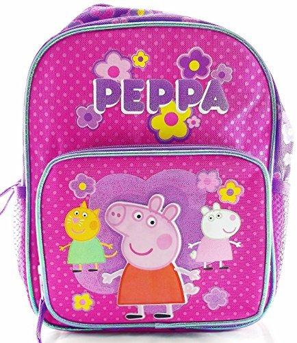 """Peppa Pig 10"""" Canvas Pink & Purple School Backpack"""