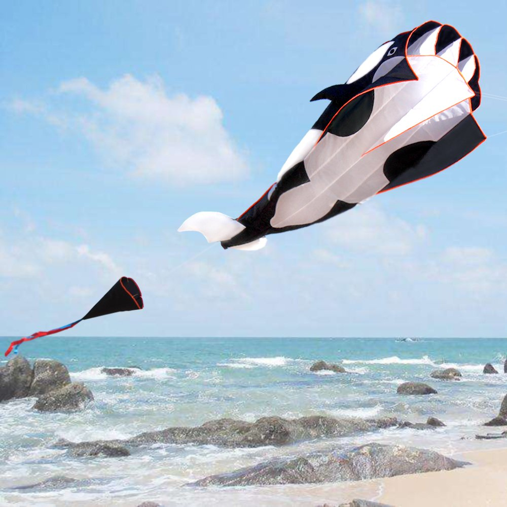 HENGDA KITE-3D Kite Huge Frameless Soft Parafoil Giant Black Dolphin Breeze Kite by HENGDA KITE (Image #4)