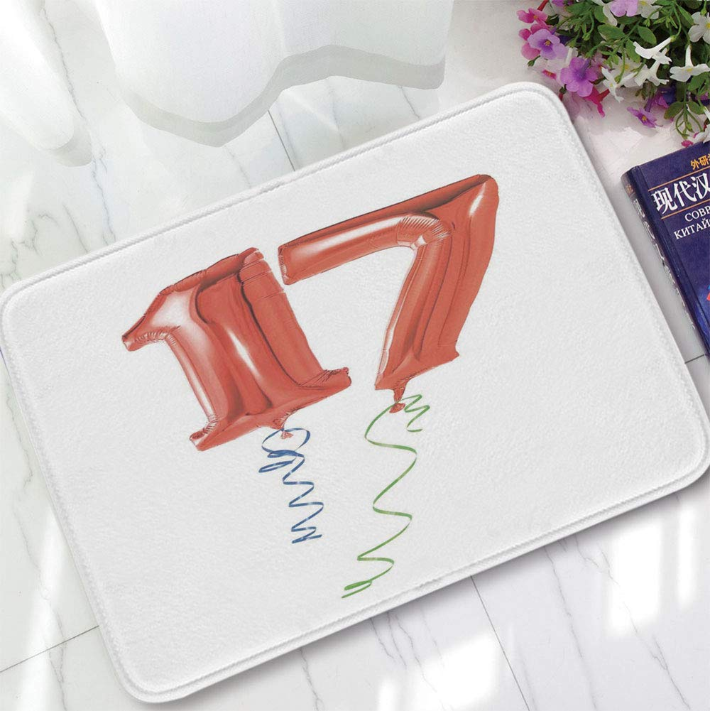 YOLIYANA Modern Carpet,17th Birthday Decorations,for Living Room Bathroom,15.75''x23.62'',Sweet Seventeen Party Balloons with Curl