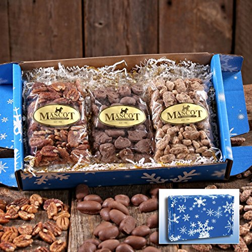 Mascot Nut and Candy Gifts since 1955 - TRIPLE TREAT Gift Box Cinnamon Glazed, Chocolate Covered, Roasted & Salted Pecans
