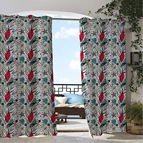 Linhomedecor Balcony Waterproof Curtains Squid Nursery Cartoon Abstract Coral Reef Silhouette Animals Seashell and Starfish Multicolor Porch Grommet Printed Curtains 72 by 72 inch