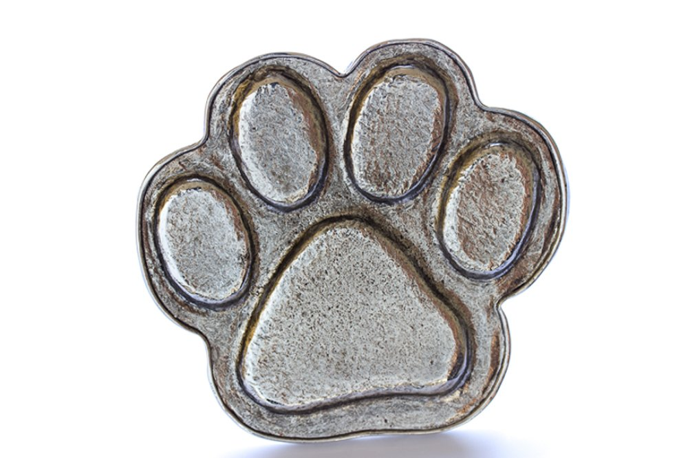 Grillie Paw Print-N Antiqued Nickel Finish Grille Ornament