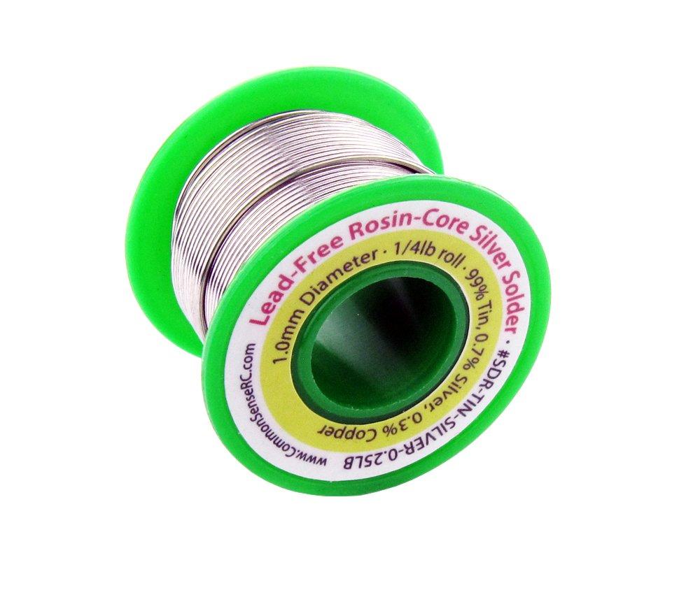 Lead-Free Rosin-Core Silver Solder - 1.0 mm Diameter - 1/4 lb Roll