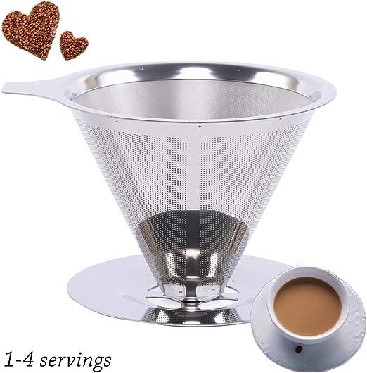 WMGVG Filtro De Café Cono Reutilizable De Acero Inoxidable Filtro ...