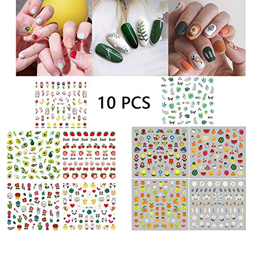 Nail Art Decals for Women 10 Sheets Watermark Transfer Nail Stickers Fruits Leaves Animals Flowers Fingernail Beauty Decorations Manicure Kits DIY Nail Art or Nail Salon -