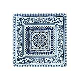 Fitz & Floyd IG31130 Antico Square Platter-11' Serving Platter, White/Blue
