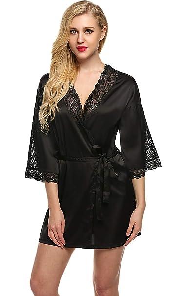 Bata Pijamas De Mujer Bata De De Kimono Raso Bata Calentamiento Nocturno Chic Ropa Shem Lace Beach Cuello En V Babydoll: Amazon.es: Ropa y accesorios