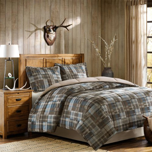 Twin Size Comforter Plaid - Woolrich White River Twin Size Bed Comforter Set - Grey Blue, Plaid – 3 Pieces Bedding Sets – Ultra Soft Microfiber Bedroom Comforters