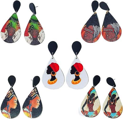Women Handmade Flower Wood DIY Craft Love Heart Earrings Wooden Hook Dangle