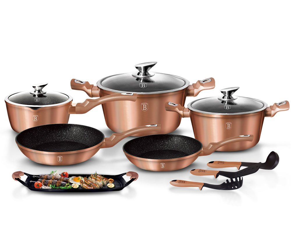 12 Piece Granite Cooking Pan Set BERLINGER House Metallic Rose Gold Bra 1696 Berlinger Haus