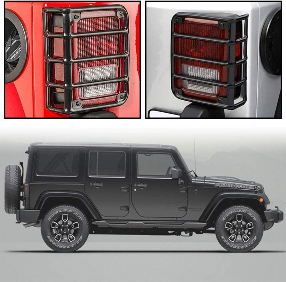 Taillights Guards Covers for 2007-2018 Jeep Wrangler JK Ruien Rear Tail Light Pair