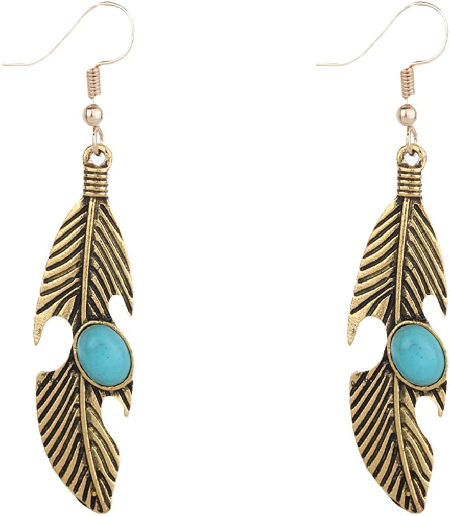 YAZILIND Vintage tibetano plata turquesa aleaci¨®n hoja forma colgante aretes mujeres ni?as regalo (oro)