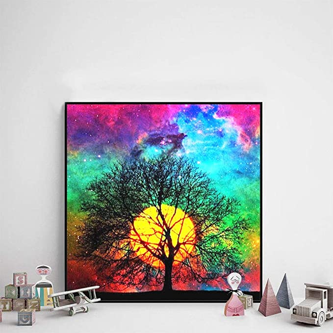 A-16X16in Full Drill Arts Craft Canvas Supply for Home Wall Decor Adults and Kids 5D Diamond Painting Kit