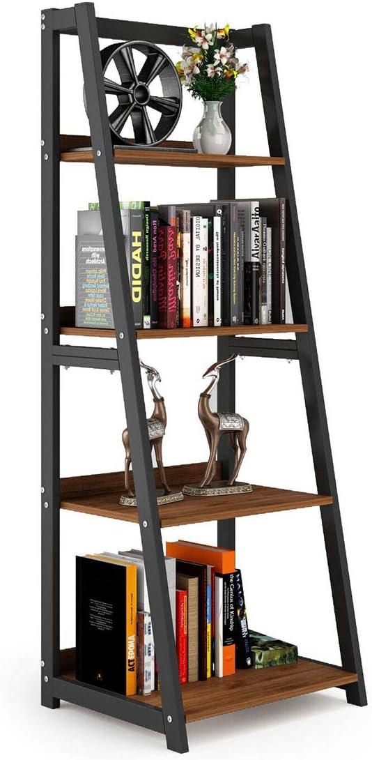 DEWEL Ladder Shelf, 4 Tier Bookshelf, Indoor Plant Stand Storage Shelves, 55 Metal and Wood Bookcase Vintage Open Display Bookshelf for Office Home