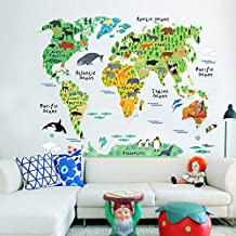 Murals World Map Country Cartoon Typical Animals Jungle Removable Nursery Wall Art Decor Peel & Stick Decals Stickers for Kids Playroom Decor Kindergarden Study Parlour Room