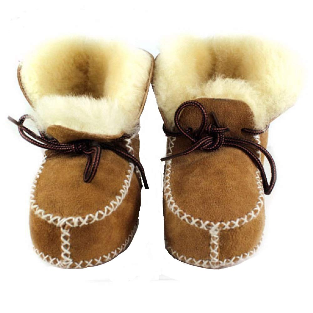 HONGTEYA Sheepskin Baby Bootie- Infants Warm Fur Wool Girls Baby Plush Boots Leather Boy Shoes 6S-A3IH-OT7T