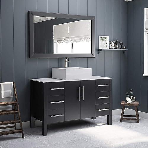 48 Inch Espresso Wood Porcelain Single Vessel Sink Bathroom Vanity Set