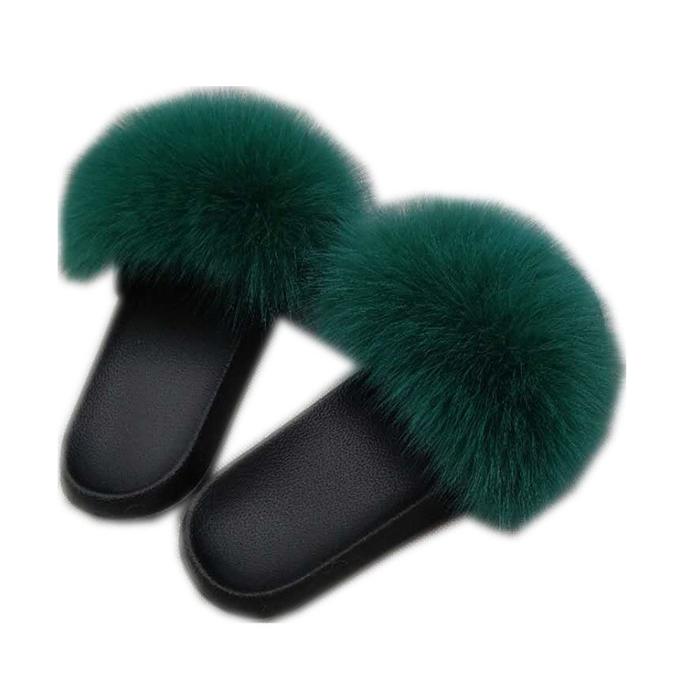 Gegefur Women Real Fox Fur Feather Toe Vegan Leather Open Toe Feather Single Strap Slip On Sandals B07FRWN51W Slippers 2167ed