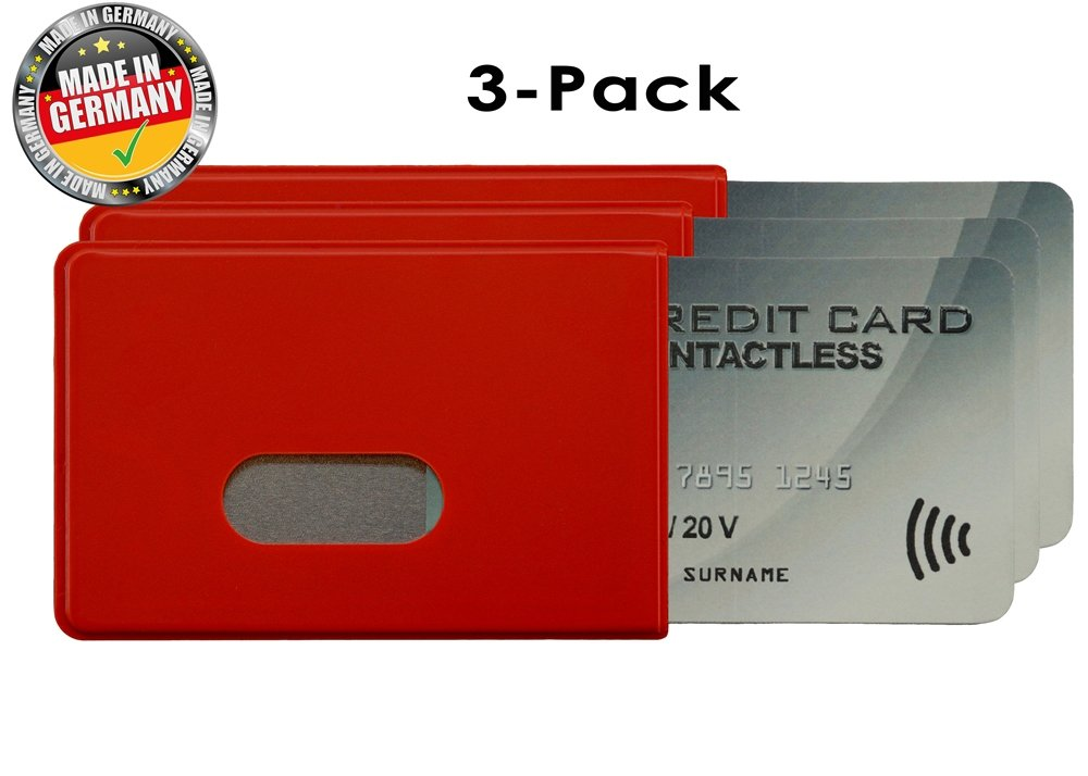 OPTEXX® 3x RFID/NFC Blocking Sleeve Fred Red TÜV tested and certified Credit- / Debit Card Protector Id Theft Protection Case
