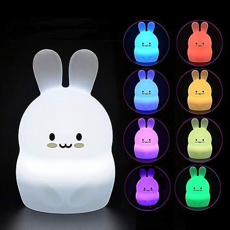 Luz de la noche del bebé,lámpara de cabecera de silicona suave segura de Tekemai,9 colores con control remoto,lámpara LED multicolor recargable USB ...