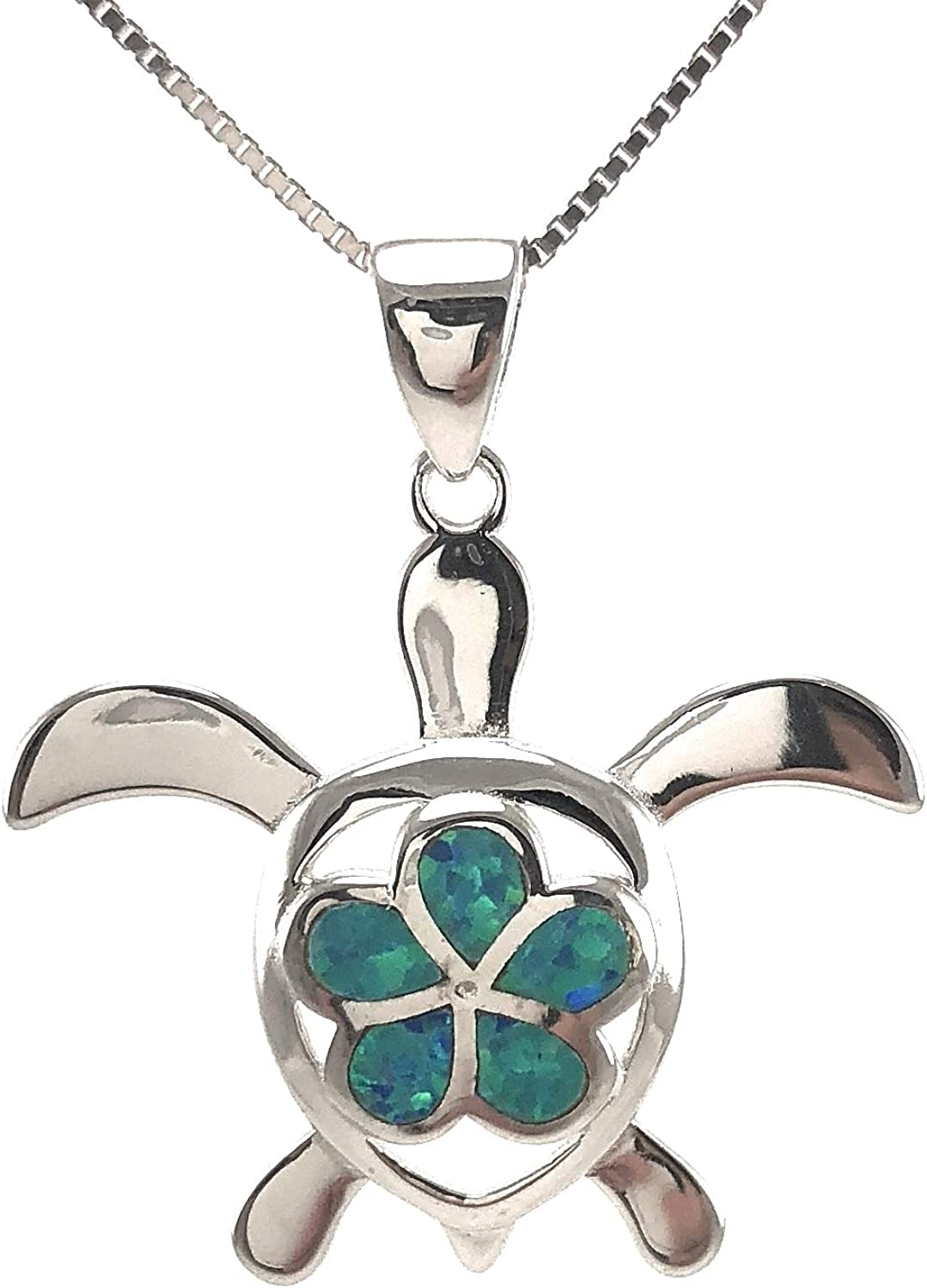 A6160 Sterling Silver Hawaiian Turtle Pendant Necklace with Plumeria Synthetic Blue Opal with 18 Silver Chain