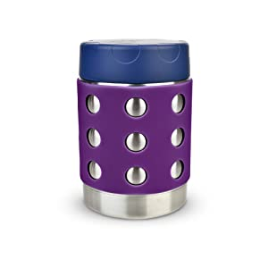 LunchBots Thermal 12 oz Triple Insulated Food Container - Hot 6 Hours or Cold 12 Hours - Leak Proof Thermos Soup Jar - All Stainless Interior - Navy Lid - Purple Dots