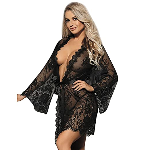 ab9c9e8665 POTO Sexy Lingerie for Women for Sex Lace Floral Mesh Dressing Coat  Underwear and Panty Babydoll