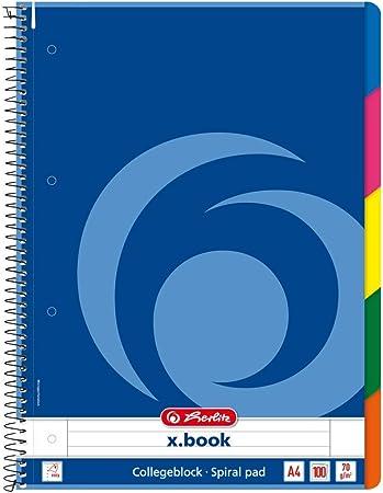 Herlitz 296483 - Libreta de líneas (DIN A4, doble espiral, 70 g/m², 5 separadores de colores, 100 hojas): Amazon.es: Oficina y papelería