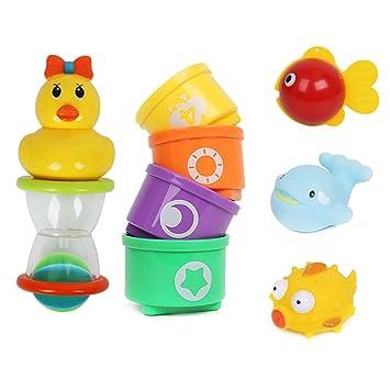 Cusfull Juguete de Baño para Niños Bebé Patito Juego de 5 Jueguetes de Agua Bañera Natación: Amazon.es: Juguetes y juegos