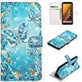for Samsung Galaxy A8 2018 Wallet Case and Screen Protector,QFFUN Glitter 3D Pattern Design [Blue Butterfly] Magnetic Stand Leather Phone Case with Card Holder Drop Protection Etui Bumper Flip Cover