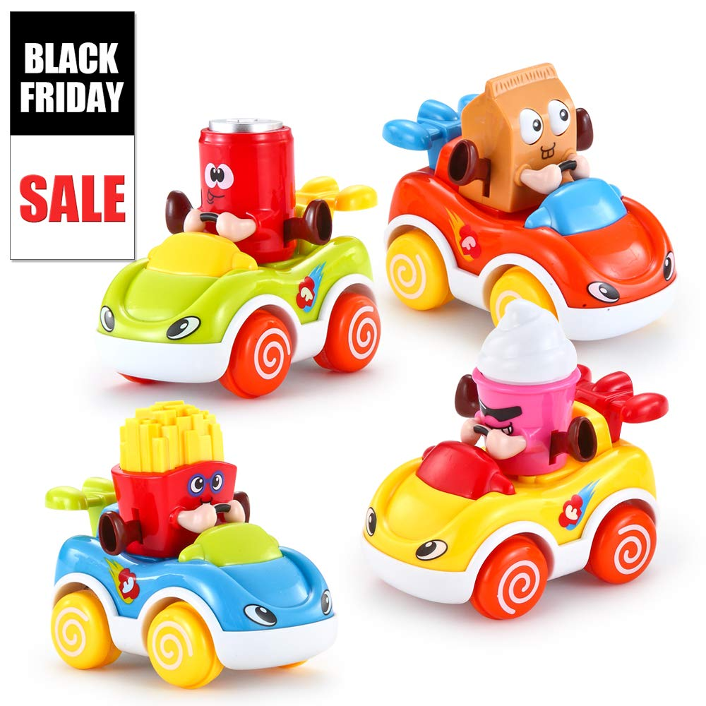 VATOS Toddler Toy Cars Set of 4 Friction Powered Cars Cartoon Push and Go Car Baby Toy Play Set Toys for 1 Year Old Boy Girl