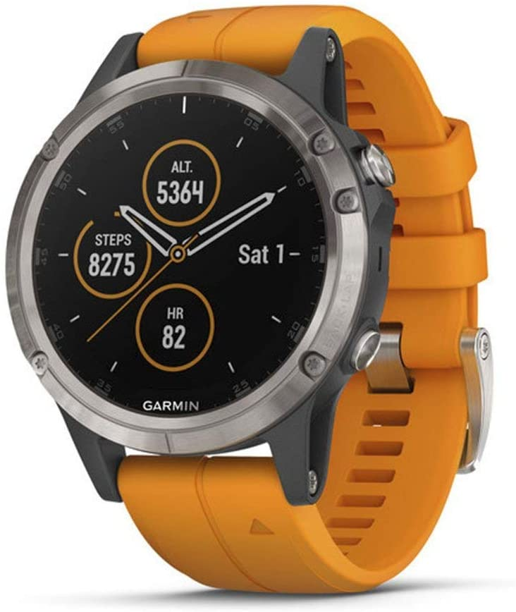Garmin Fenix 5s Plus Features Color TOPO Maps Heart Rate Monitoring Smaller-Sized Multisport GPS Smartwatch Renewed Music and Garmin Pay Black