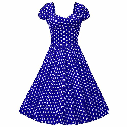 Dress Costume Halloween Dot Polka (Samtree Womens 1950s Style Square Neck Short Sleeve Rockabilly Swing Vintage Polka Dot Dress(Asia M fit US)