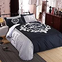 her side his side personality Bedding Set Duvet cover set queen full life nice Quality Beautiful fashion (Queen 4pcs, 6)