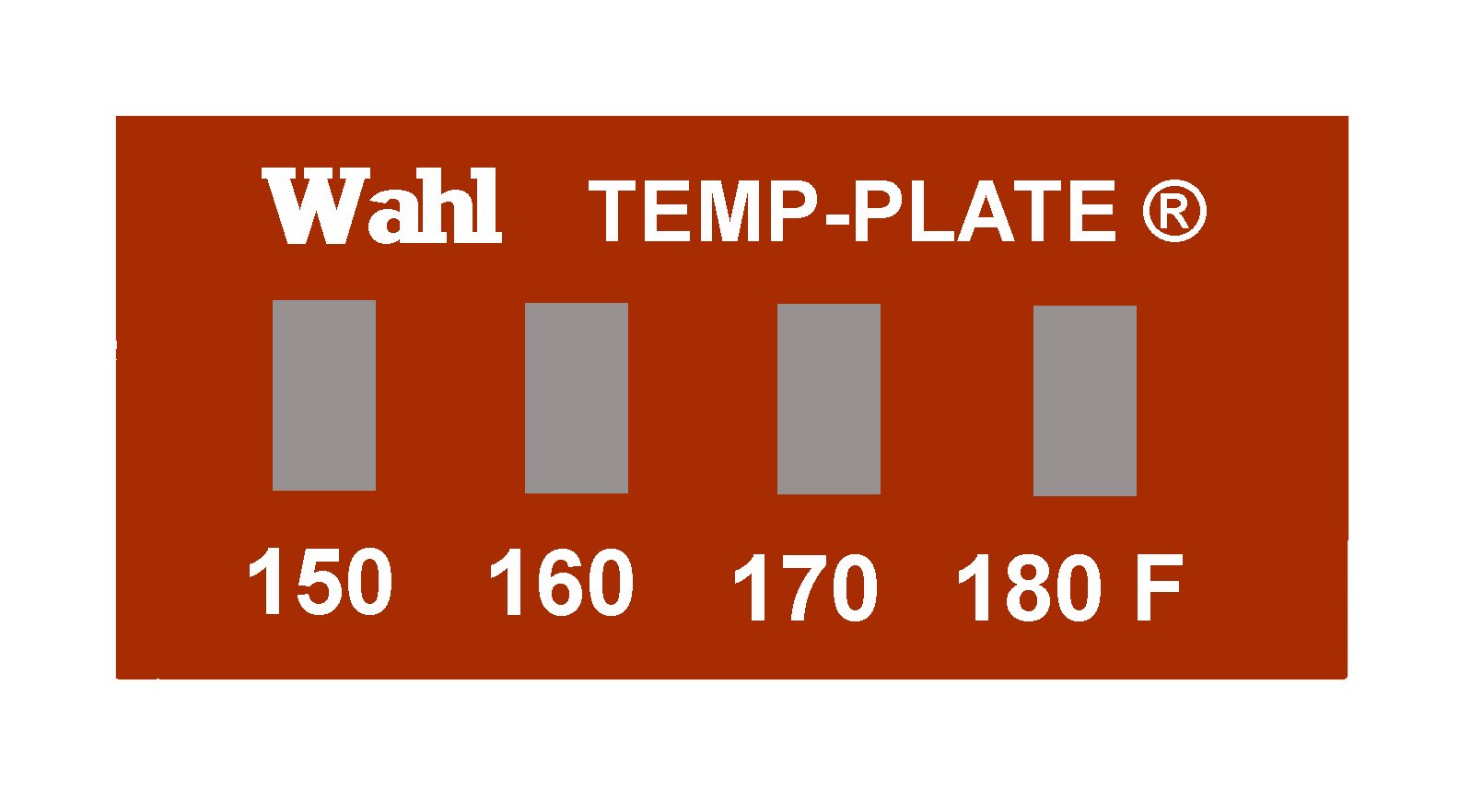 Wahl 101-4-150F Mylar Mini Four-Position Temp-Plate, 150-160-170-180 Degrees F Positions, 0.82'' Width x 0.32'' Height (Box of 10 labels) by Wahl Instruments