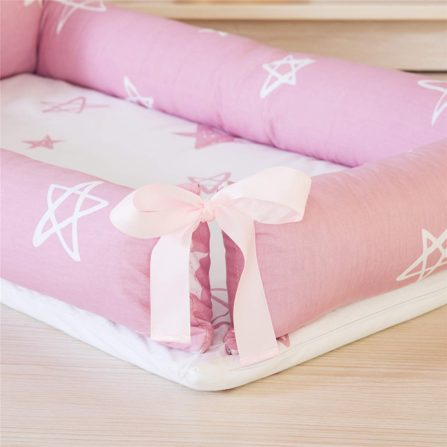 Breathable /& Hypoallergenic Co-Sleeping Baby Bed Abreeze Baby Bassinet for Bed -Starfish Pink Baby Lounger 100/% Cotton Portable Crib for Bedroom//Travel//Camping