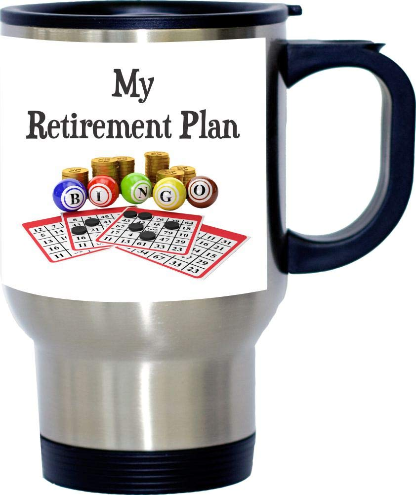 My Retirement Plan is Bingo Design Stainless Steel Travel Mug 14oz by Rikki Knight by Rikki Knight