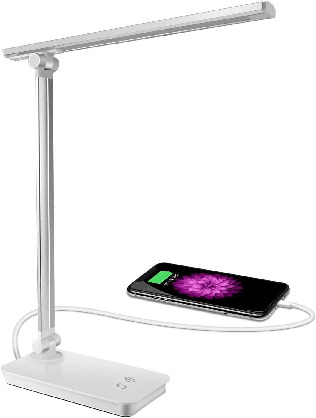 SunTop Lámpara Escritorio,Lámpara LED de mesa,5W Regulable Cuidado a Ojos, 3 Niveles de Brillos, 5 colores ajustable, Puerto USB 5V/ 1A, Control Táctil, Bajo Consumo de Energía, Ángulo Ajustable