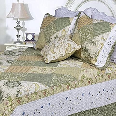 3 Piece Green Shabby Chic King Size Patchwork Quilt, White Damask Country Floral, French Paisley Pattern Western Vintage, Cottage Lake House Flowers Patch Work, Cotton, Synthetic - Cottage Flower Bedding