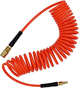 """YOTOO Polyurethane Recoil Air Hose 1/4"""" Inner Diameter by 25' Long with Bend Restrictor, 1/4"""" Industrial Quick Coupler and Plug, Red"""