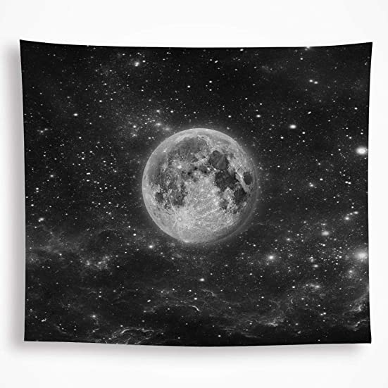 VAKADO Galaxy Moon Space Tapestry Wall Hanging Black Trippy Starry Night Sky Stars Universe Planet Bohemian Blanket for Dorm Living Room Home Decor 59 X82.6