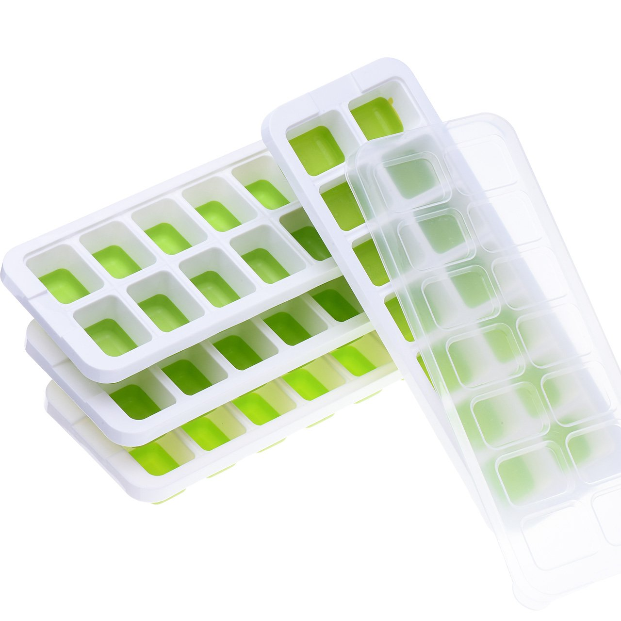 TOPTRAY Ice Cube Trays 4 Pack, Easy-Release Silicone and Flexible 14-Ice Trays with Spill-Resistant Removable Lid and Unique Water Channel Design, BPA Free Stackable and Durable