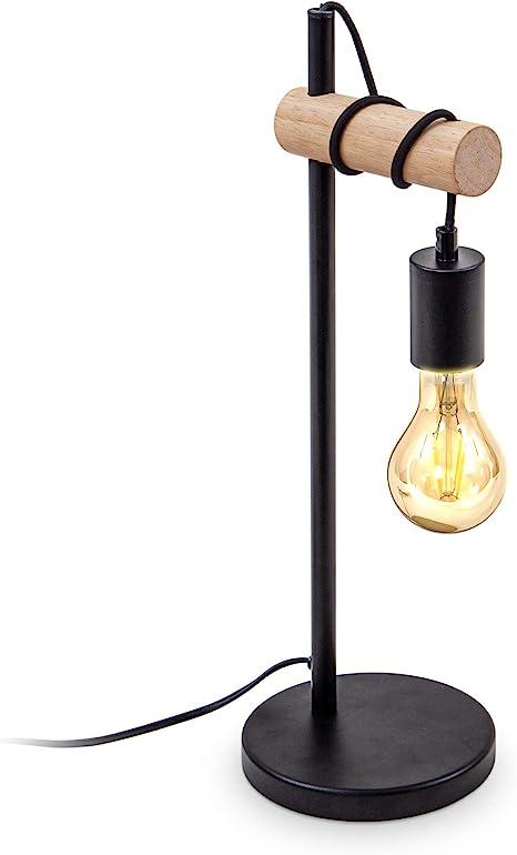 B K Licht Lampada Da Tavolo In Metallo Nero E Legno Lampadina E27 Non Inclusa Lampada Da Comodino Vintage Lampada Da Scrivania Dal Design Industriale Ideale Per Ambienti Rustici E Moderni Ip20 Amazon It Illuminazione