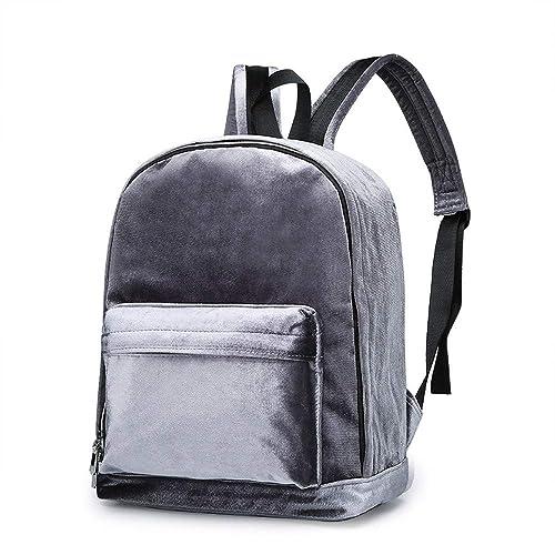 78c49a1a1fe60 Ansenesna Rucksäcke Damen Samt Groß Vintage Elegant Taschen Teenager  Freizeit Backpack Für Outdoor Reise (Grau