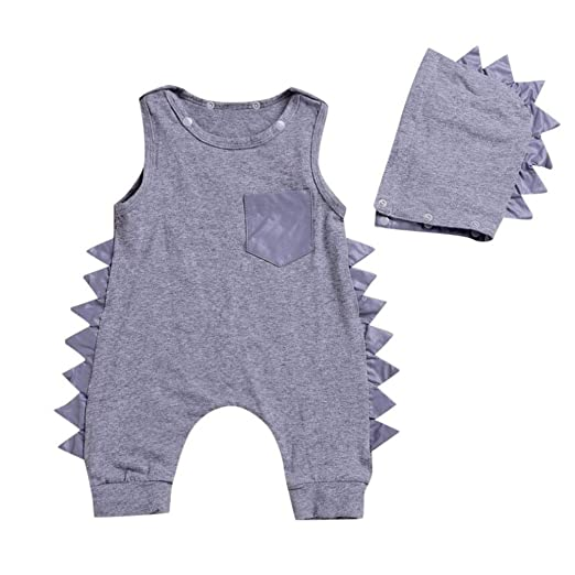 5c53dfd4aa45 Amazon.com  Dacawin Newborn Baby Boys Solid Dinosaur Romper Jumpsuit+Hat  Set Outfits Clothes (6M-3T)  Sports   Outdoors